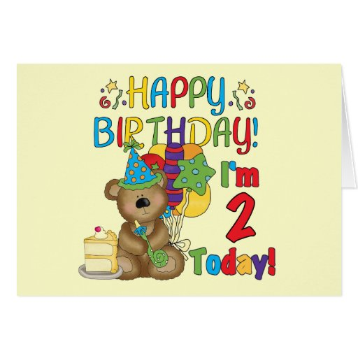 Happy Birthday Teddy Bear 2nd Birthday Greeting Card