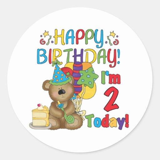 Happy Birthday Teddy Bear 2nd Birthday Round Sticker