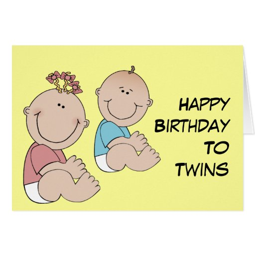 Happy Birthday To Twins Greeting Cards