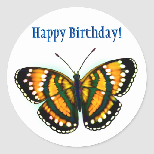 Happy Birthday Tropical Sunshine Yellow Butterfly Stickers