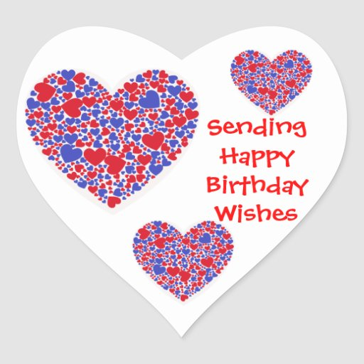 Happy Birthday Wishes, red and blue hearts, white Heart ...