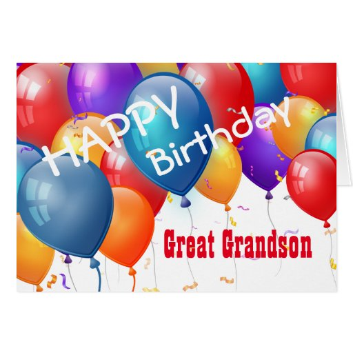 Happy Birthday With Balloons GREAT GRANDSON Card