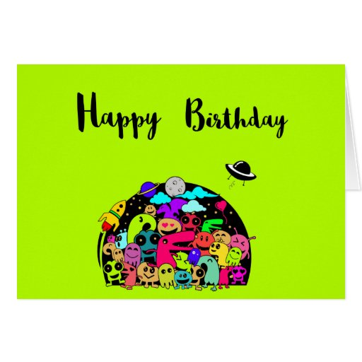 Happy Birthday With Cute Space Aliens Card