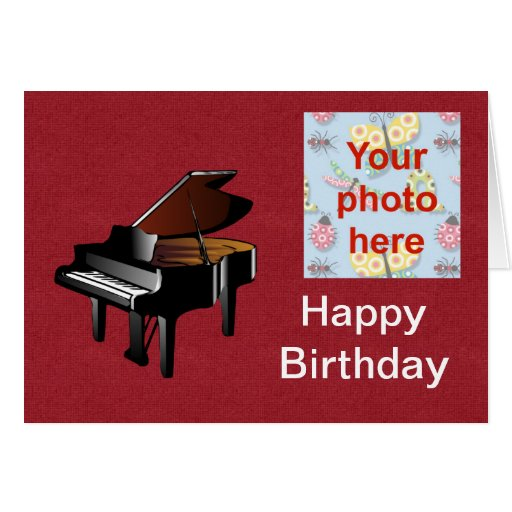 Happy Birthday With Piano Add Photo Greeting Card