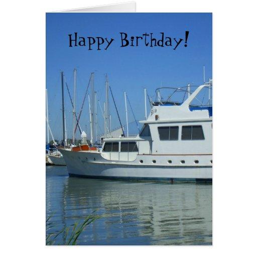 Happy Birthday Yacht Greeting Card