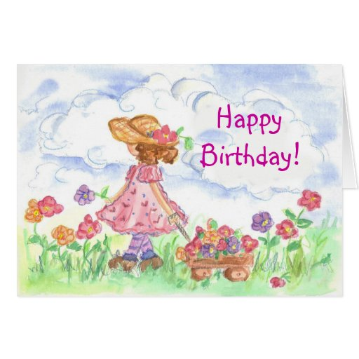 happy birthday young girl summer meadow card  zazzle