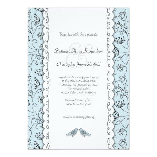 Trendy Wedding Invitation Cards: Happy Blue Birds Wedding Doodle Trendy Budget 5x7 Paper