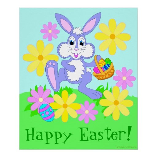 happy easter bunnies flowers-#4