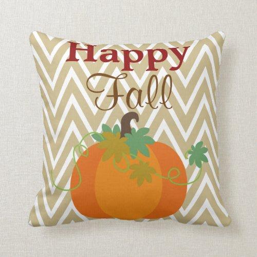 Happy Fall Pumpkin Chevron Zigzag Pattern Throw Throw Pillow