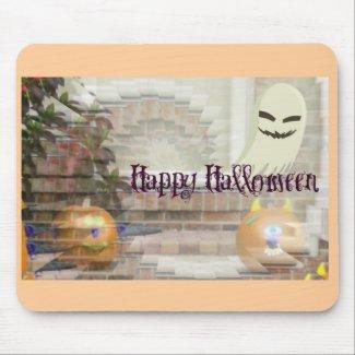Happy Halloween Pumpkin & Ghost Illusion mousepad