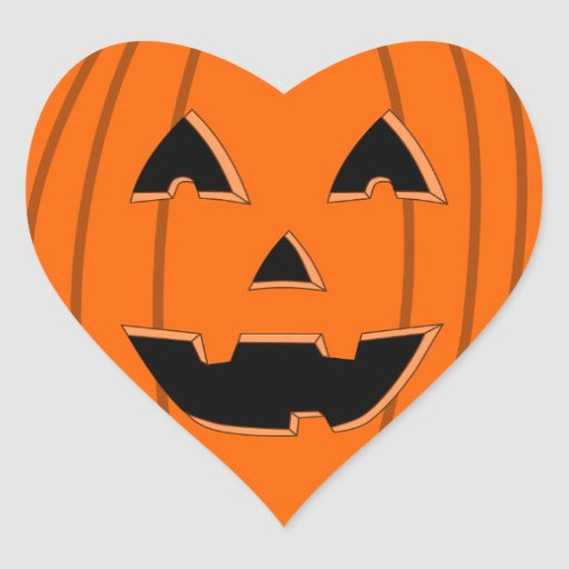 Aninimal Book: Happy Jack O Lantern Face Cartoon Heart Sticker   Zazzle