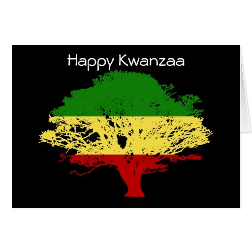 Happy Kwanzaa with tree in African colors Card | Zazzle