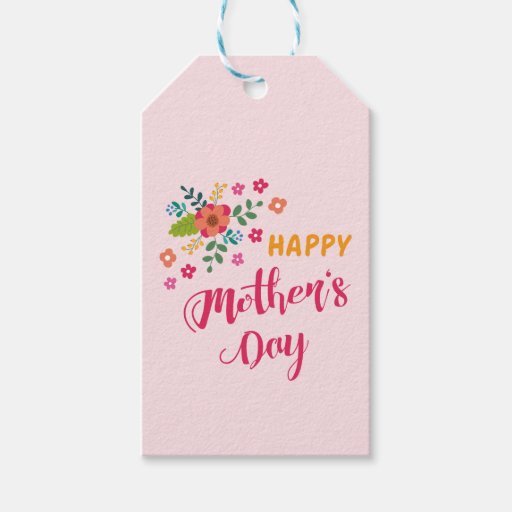 happy mother 39 s day cute floral pink illustration gift tags zazzle. Black Bedroom Furniture Sets. Home Design Ideas