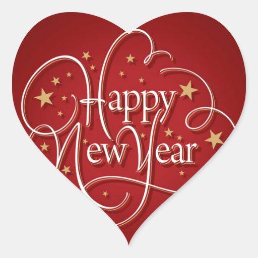 Happy New Year Heart Sticker Zazzle