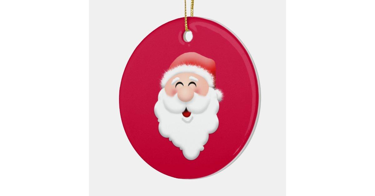 Happy Santa Claus Face Ceramic Ornament