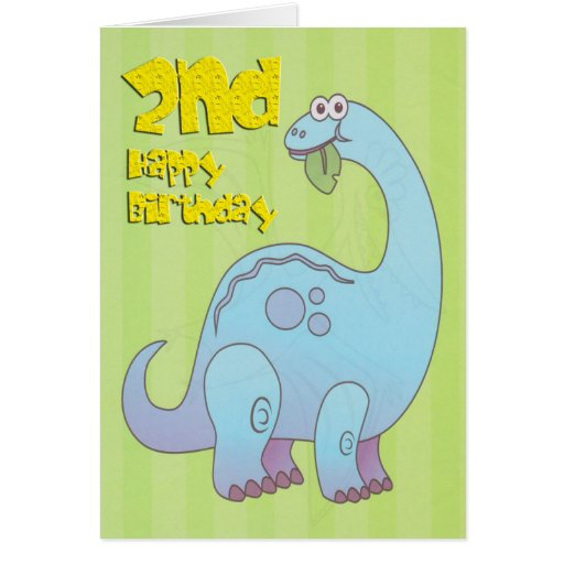 Happy Second Birthday Blue Dinosaur Greeting Card