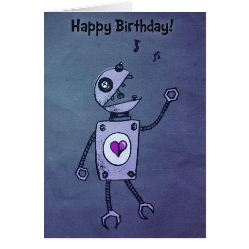 Happy Singing Robot Birthday Cards