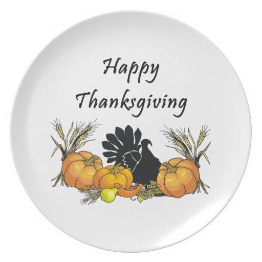 Happy Thanksgiving Dinner Plates   Zazzle