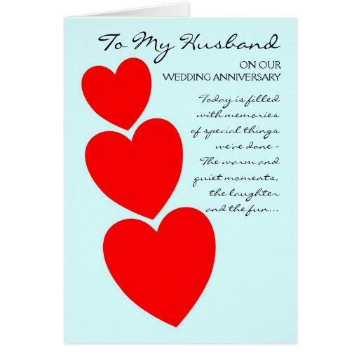 Happy Wedding Anniversary Husband Hearts Card | Zazzle