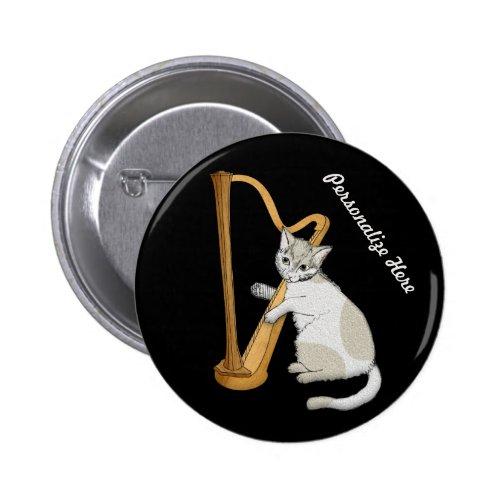 Cute Calico Kitten Harpist Personalized Round Button