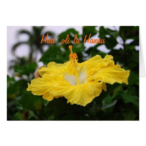 Hawaiian Happy Birthday Deep Yellow Hibiscus Card
