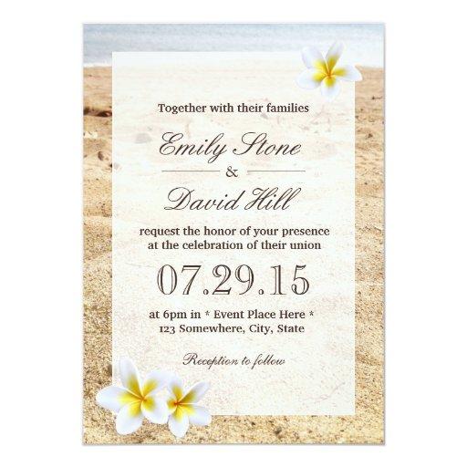 Wedding Invitations Hawaii: Hawaiian Plumeria Flowers Beach Wedding 5x7 Paper