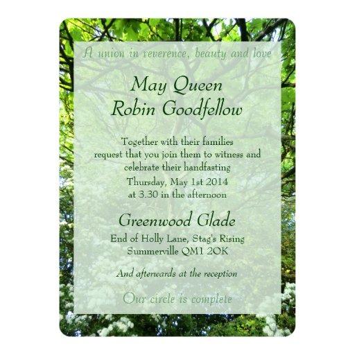 Handfasting Invitation: Hawthorn And Oak Handfasting Invitation