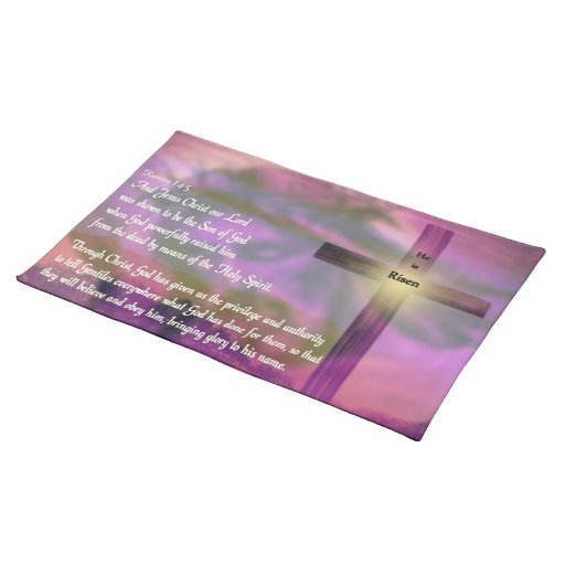 He Is Risen Religious Easter Bible Verse Cloth Placemat Zazzle