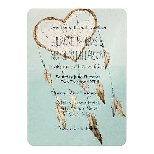 Native American Wedding Gifts: Heart Dream Catcher Wedding 5x7 Paper Invitation Card