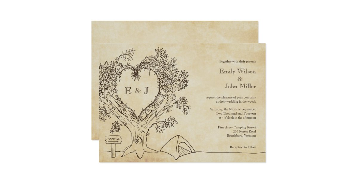 Camping Wedding Invitations: Heart In A Tree Camping Wedding Invitations