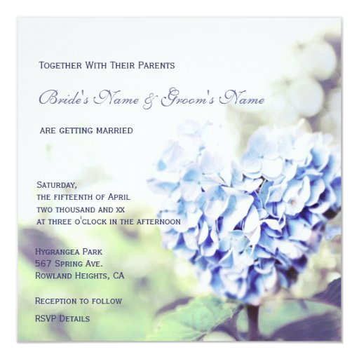 Heart Images For Wedding Invitations: Heart-Shaped Blue Hydrangea Wedding Invitation