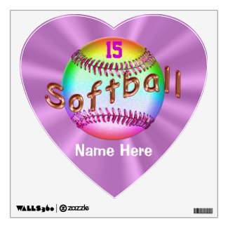 Heart Shaped Personalized Softball Decals for Girl Room Stickers