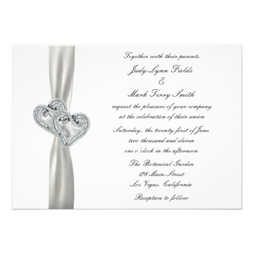 """When Should Wedding Invitations Be Ordered: Hearts White Wedding Invitation 5"""" X 7"""" Invitation Card"""