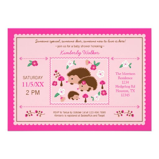 "Family Baby Shower Invitations: Hedgehog Family Baby Girl Shower Invitation 5"" X 7"