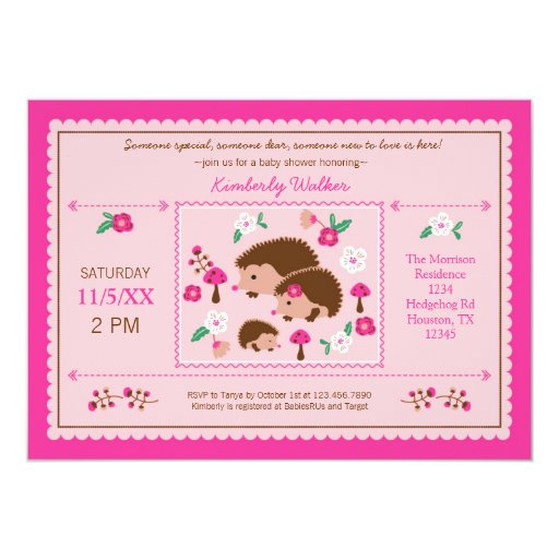Family Baby Shower Invitations: Hedgehog Family Baby Girl Shower Invitation