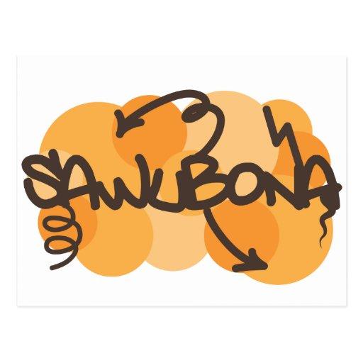 Hello In Zulu In Graffiti Style Postcard