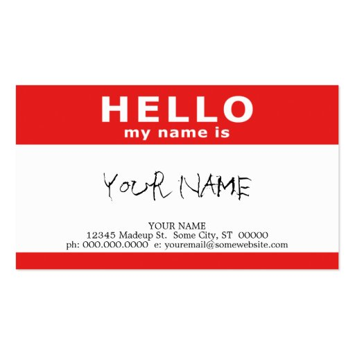 hello my name is (with QR code) Business Card Template