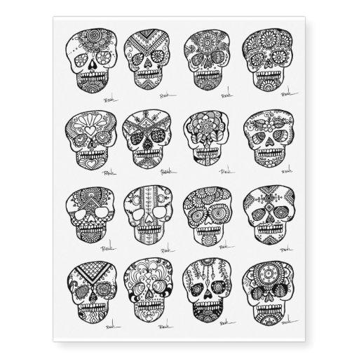 Skull Henna Tattoo: Henna Sugar Skulls Temporary Tattoos Black Art