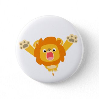 Here comes Trouble (cartoon Lion) button badge button