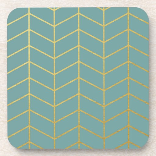Herringbone Pattern Faux Gold Foil Teal Geometric Drink ...