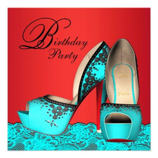 High Heel Shoe Birthday Invitations