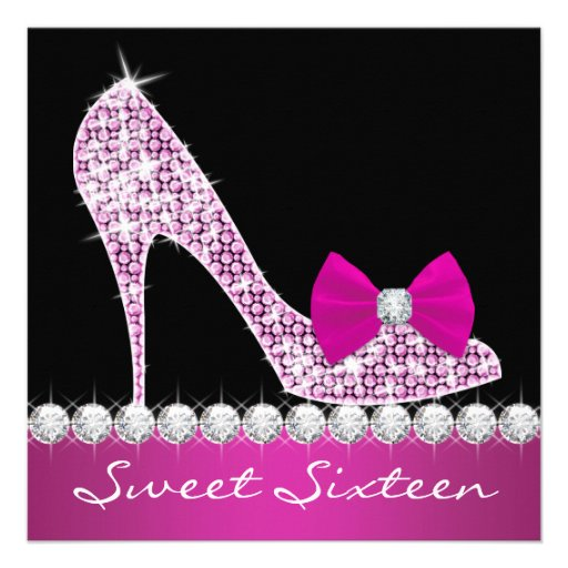 High Heels Hot Pink Sweet Six Birthday Party Invite