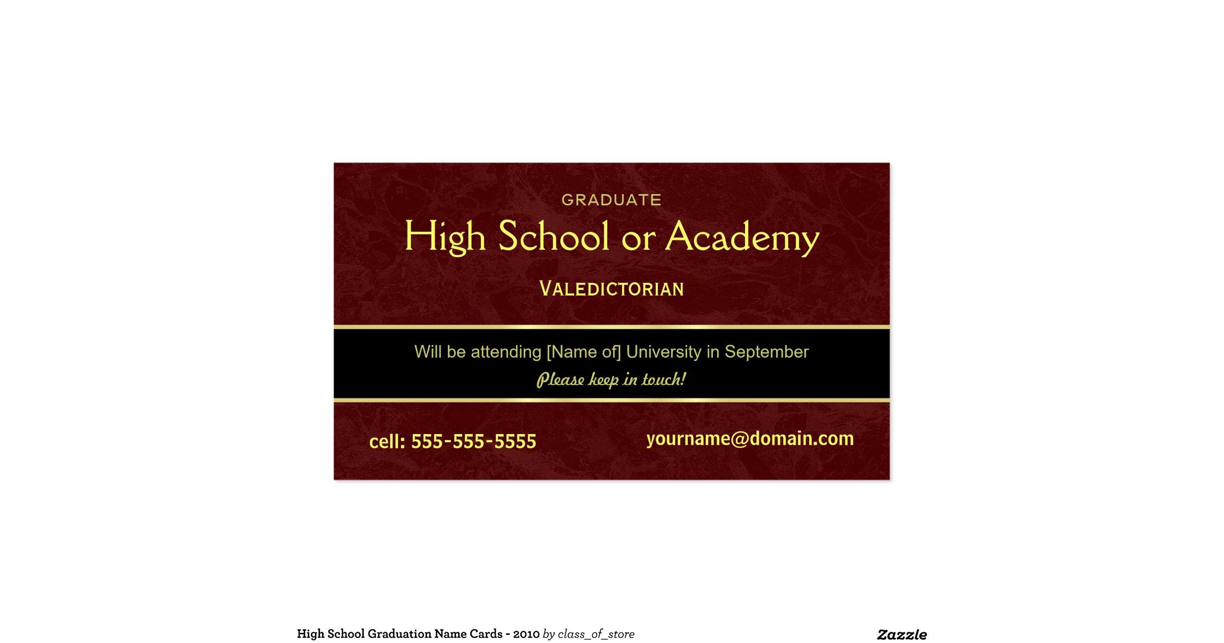 high school graduation name cards  2010 doublesided