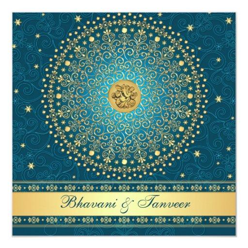 Ganesh Wedding Invitations: Hindu Ganesh Teal, Gold Scrolls Wedding Invite
