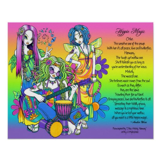 Hippie Magic Rainbow Musical Fairies Poem Poster