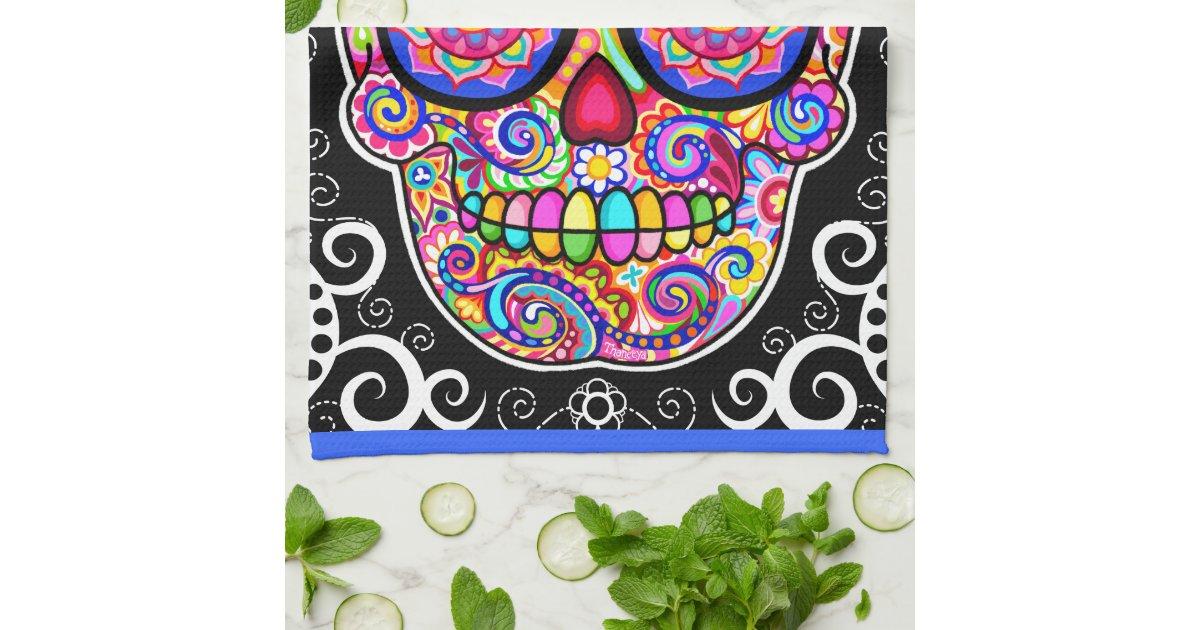 Hipster Sugar Skull Kitchen Towel | Zazzle