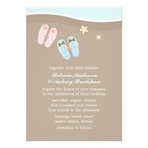 """His Hers Wedding Invitations Templates: His And Hers Flip Flops Beach Wedding 5"""" X 7"""" Invitation"""