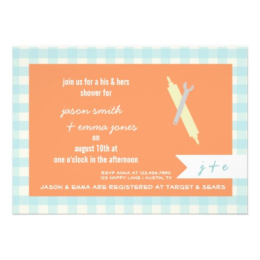 """His Hers Wedding Invitations Templates: His & Her's Wedding Shower Invitation 5"""" X 7"""" Invitation"""