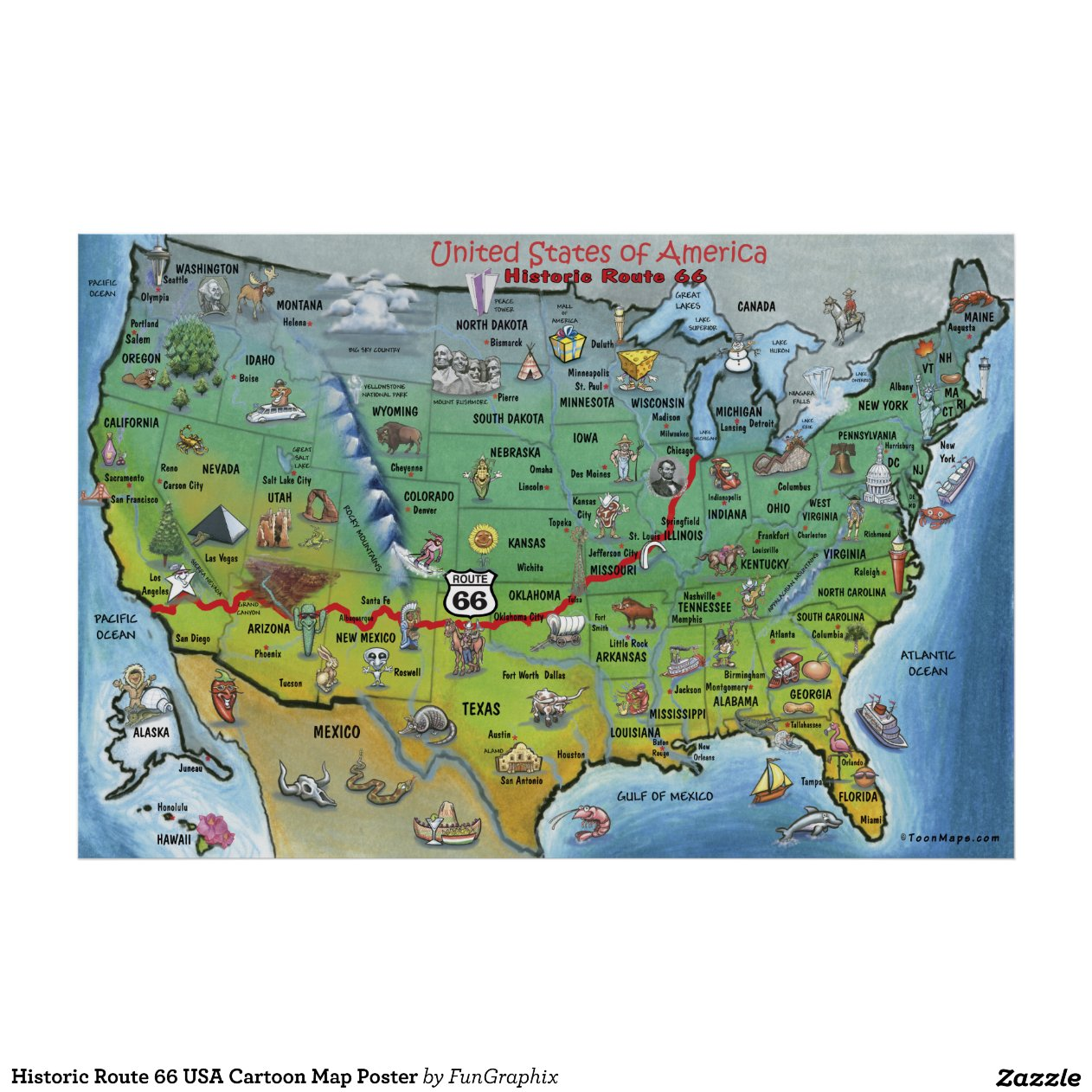 Historic Route 66 California Map.Historic Route 66 Usa Cartoon Map Poster Zazzle Cartoon Map Of Usa
