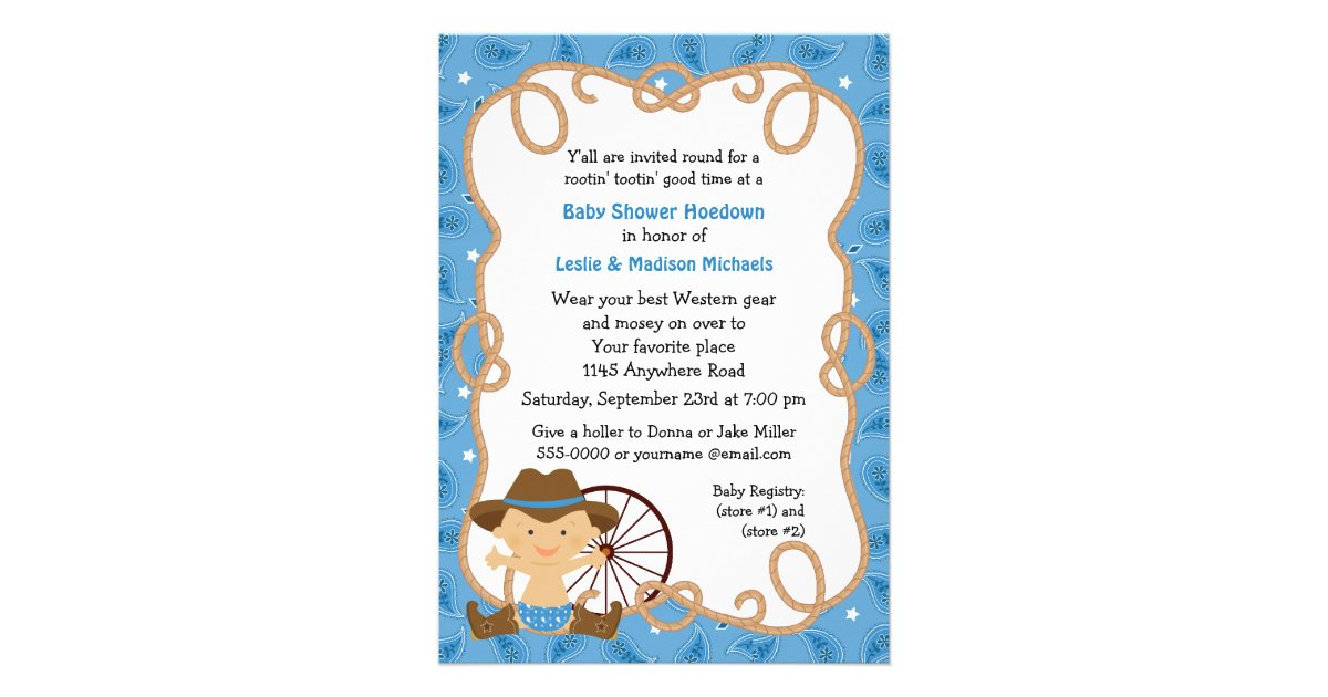 Hoedown Baby Boy Shower Invitation